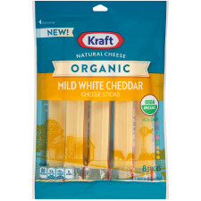 Kraft Organic Mild White Cheddar Natural Cheese Sticks 8 count Pouch