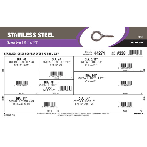 Stainless Steel Screw Eyes Assortment (#0 Thru 3/8