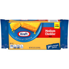 Kraft Medium Natural Cheddar Cheese Block 2 lb Wrapper