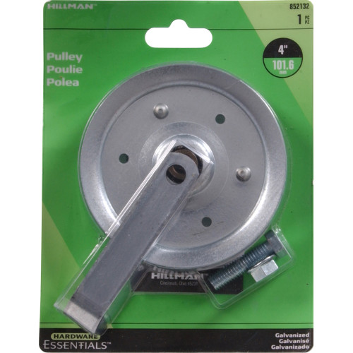 Hardware Essentials Galvanized Pulley with Fork, Bolt & Nut 4 in.
