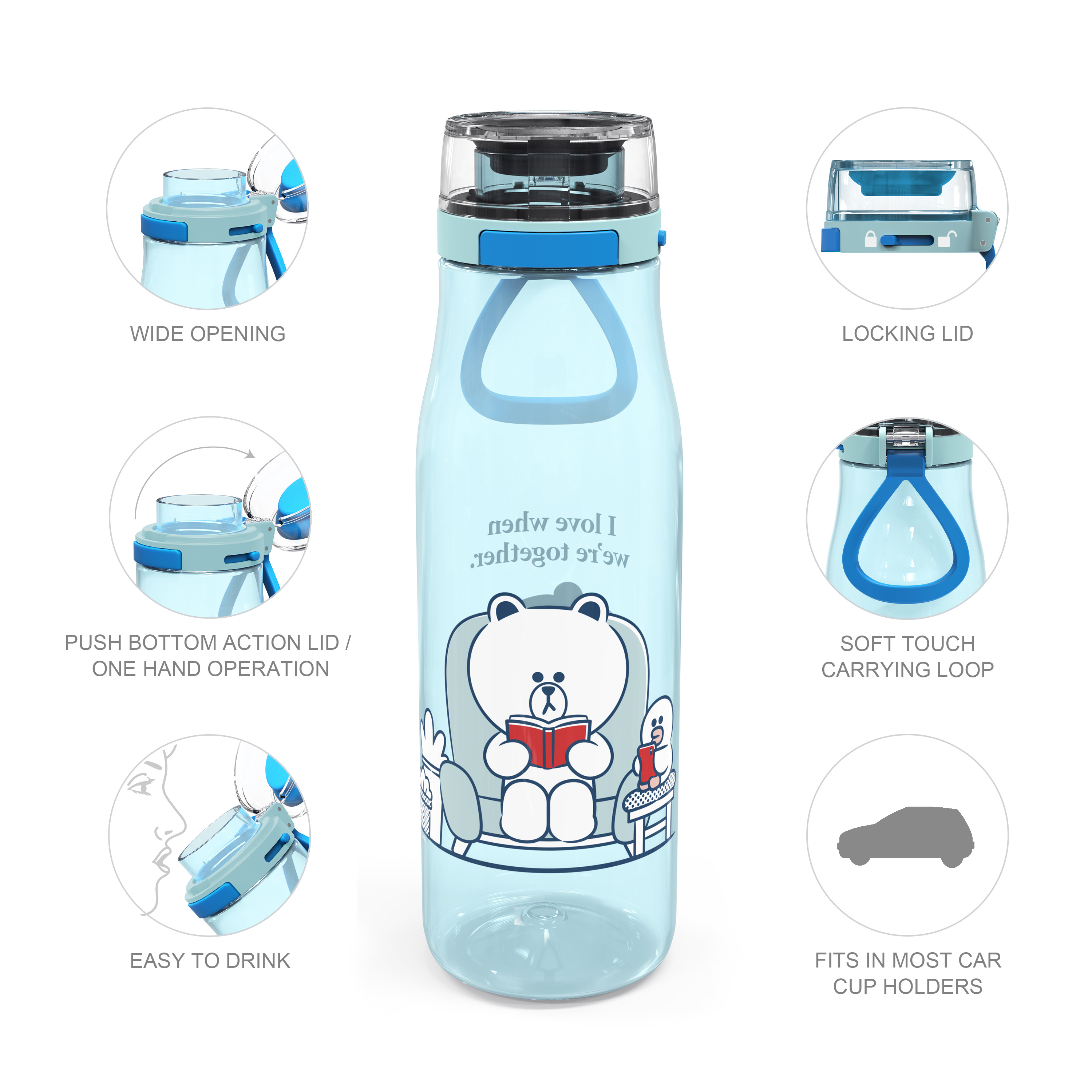 Line Friends 25 ounce Water Bottle, Brown and Sally slideshow image 6