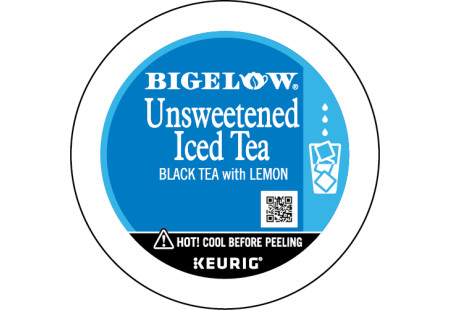 Lid Unsweetened Iced Tea with Lemon K-Cup Brewed over Ice