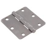 """Hardware Essentials 1/4"""" Round Corner Satin Chrome Door Hinges (3"""")"""