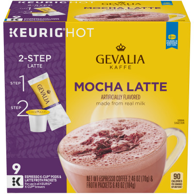 Gevalia Mocha Latte Espresso K-Cup Packs & Froth Packets 9 count Box