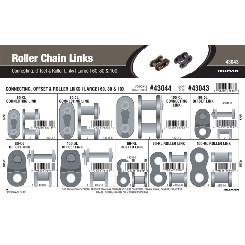 Large Roller Chain Links Assortment (#60, 80 & 100)