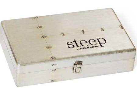 Brushed metal steep by Bigelow Tea Chest with overwrapped tea bags