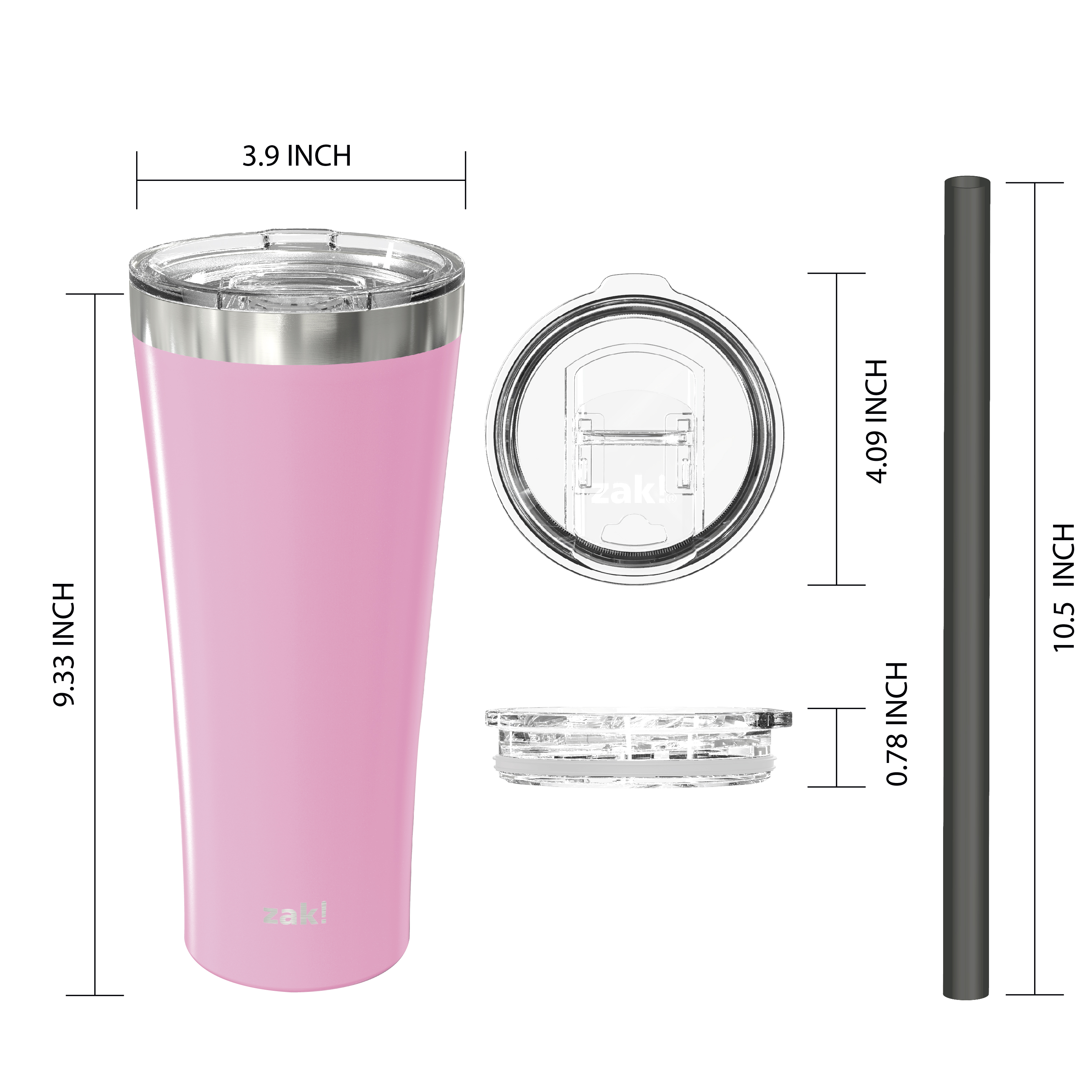 Alpine 30 ounce Stainless Steel Vacuum Insulated Tumbler with Straw, Lilac slideshow image 4