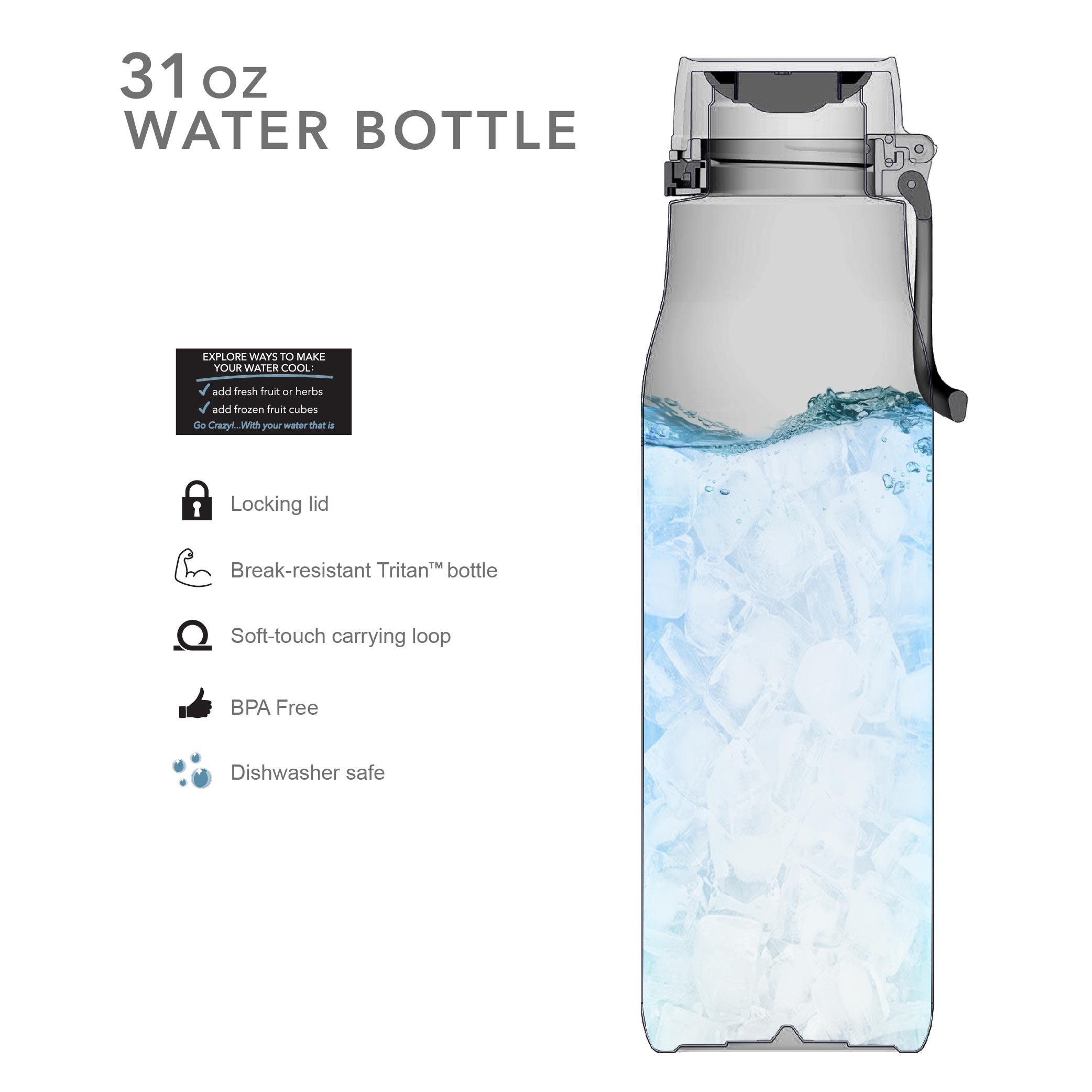 Kiona 31 ounce Water Bottle, Indigo slideshow image 8