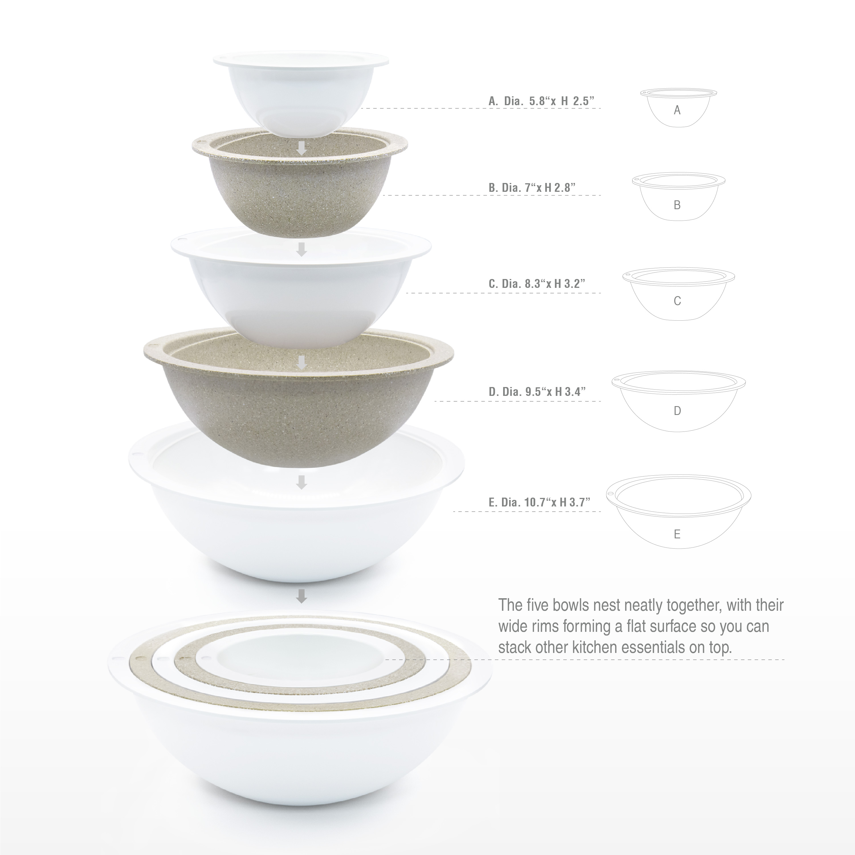 Tilt Mixing Bowl Set, White, 5-piece set slideshow image 4