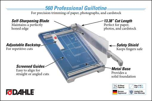 Dahle 560 Professional Guillotine Trimmer InfoGraphic