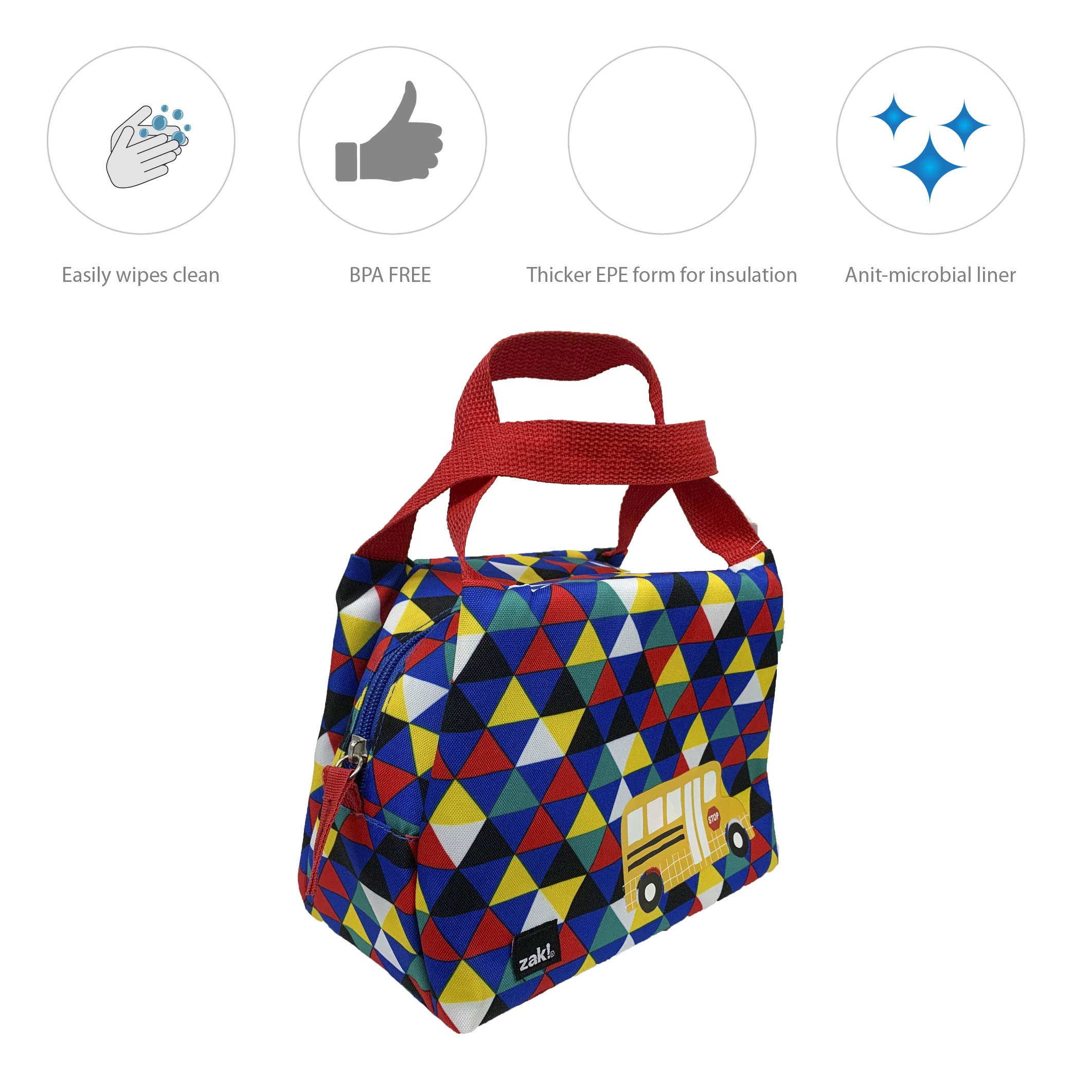 Grid Lock Purse Style Insulated Reusable Lunch Bag, Buses slideshow image 5