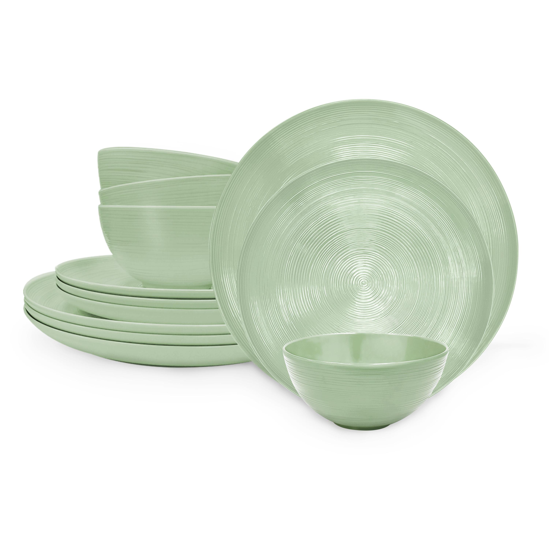American Conventional Plate & Bowl Sets, Sage, 12-piece set slideshow image 2