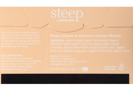 Back of steep by bigelow organic lemon ginger herbal tea box