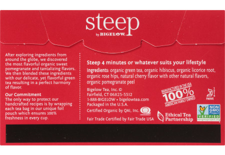 Back of steep by Bigelow Organic Green Tea and Pomegranate Box of 20 tea bags - ingredient list