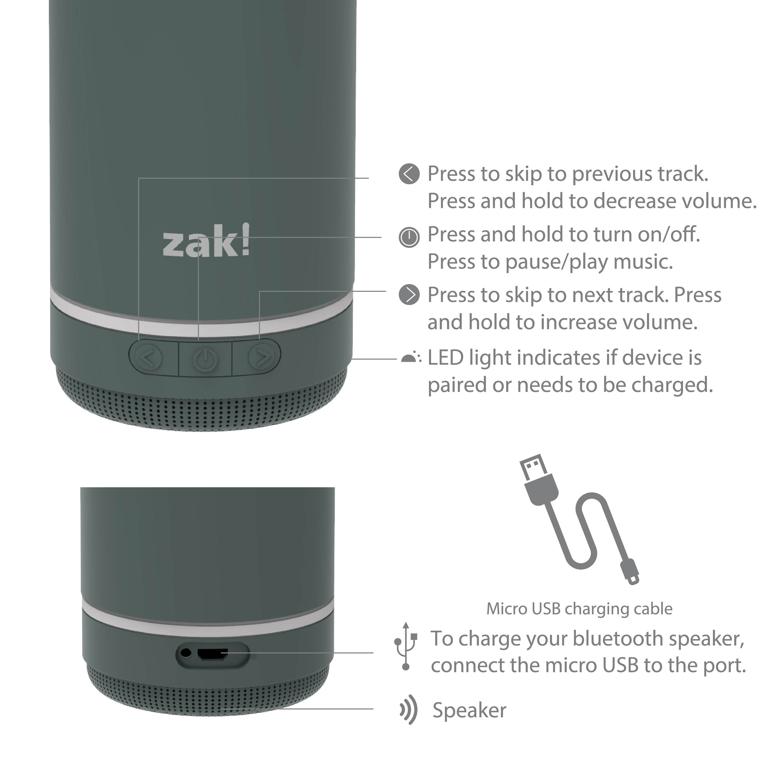 Zak Play 17.5 ounce Stainless Steel Tumbler with Bluetooth Speaker, Gray slideshow image 10