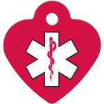 Small Heart Medical ID Red and White Quick-Tag