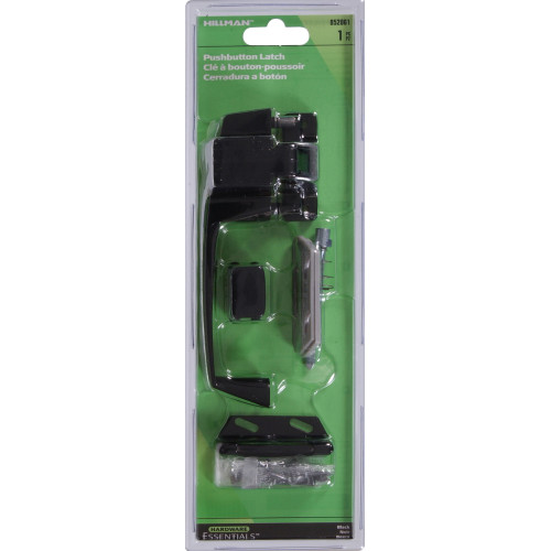 Hardware Essentials Black Pushbutton Latch 1-1/4in