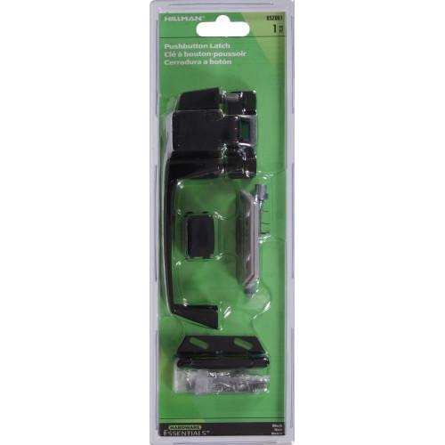 Hardware Essentials Black Pushbutton Latch 1-1/4in