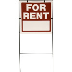 For Rent Sign Red and White with Frame