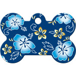 Blue Hawaiian Flowers Large Bone Quick-Tag