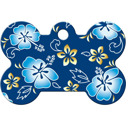 Blue Hawaiian Flowers Large Bone Quick-Tag 5 Pack