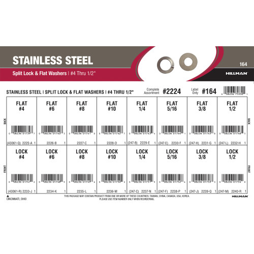 Stainless Steel Split Lock & Flat Washers Assortment (#4 thru 1/2