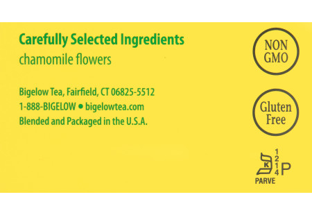Ingredient panel of Cozy Chamomile Herbal Tea Box of 28 tea bags