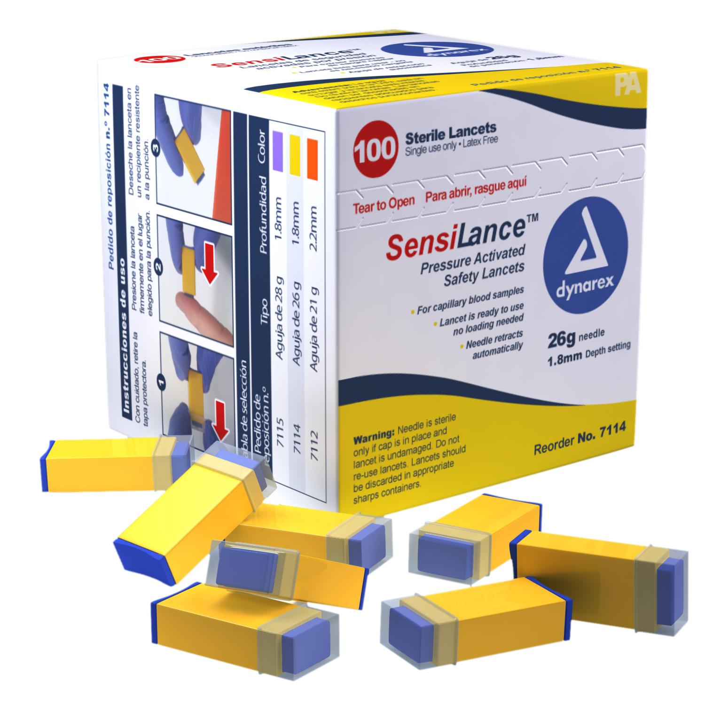 Pressure Activated Safety Lancets Sterile 26 Gauge - 1.8 Mm Depth