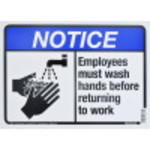 "Aluminum Employees Must Wash Hands Notice Sign, 10"" x 14"""