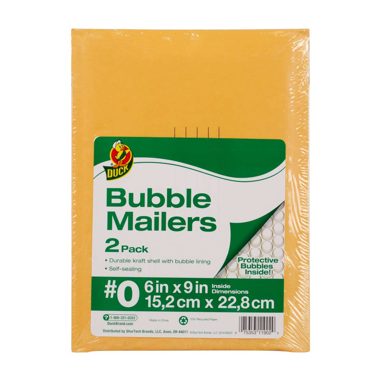 Duck® Brand Kraft Bubble Mailers - Manila, 2 pk, 6 in. x 9 in. Image