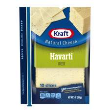 Kraft Havarti Natural Cheese Slices 10 slices - 7 oz Wrapper