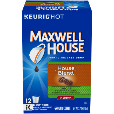 Maxwell House Decaffeinated House Blend Coffee K-Cup Pods, 12 count