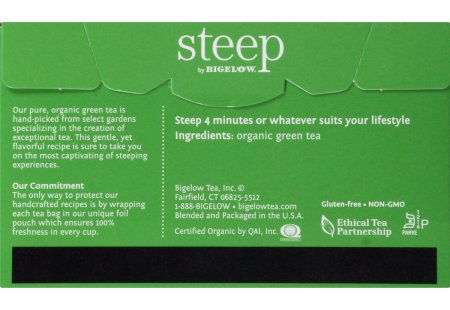 Back of steep by bigelow organic pure green tea box