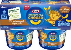 Kraft Macaroni & Cheese Dinner Whole Grain Original Flavor 4-2.0 oz Microcups image