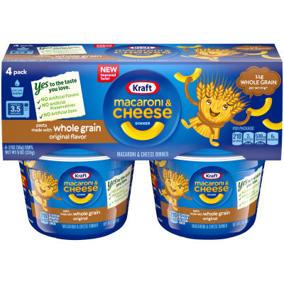 Kraft Easy Mac Whole Grain Original Flavor Macaroni & Cheese Dinner, 4 - 2 oz Sleeves