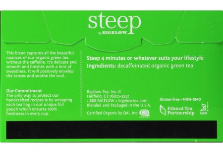 Back of steep by bigelow organic pure green decafffeinated  tea box