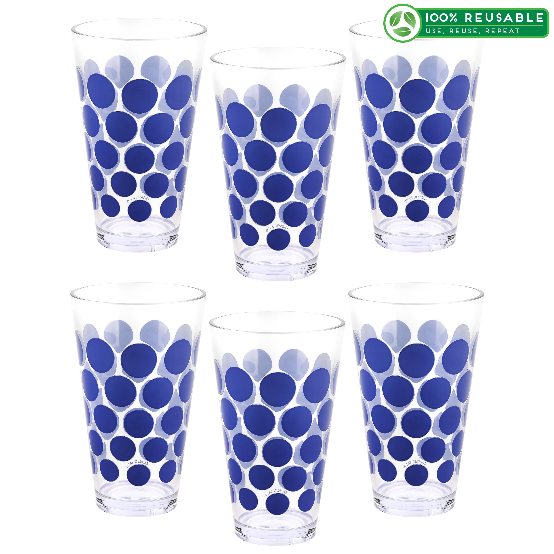 Dot Dot 20 ounce Highball Glass, Blue, 6-piece set slideshow image 1