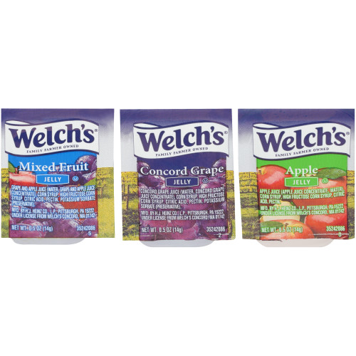 WELCH'S Single Serve Assortment 3 Jelly & Jam, 0.5 oz. Cups (Pack of 200)