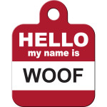 Hello Woof Small Square Quick-Tag