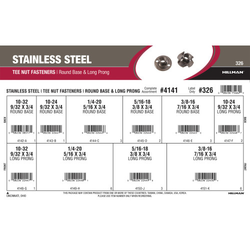 Stainless Steel Tee Nuts Fasteners Assortment (Round Base & Long Prong)