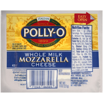 Polly-O Whole Milk Mozzarella 8 oz