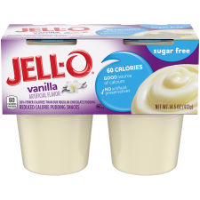 Jell-O Ready to Eat Sugar Free Vanilla Pudding Snack, 14.5 oz Sleeve (4 Cups)