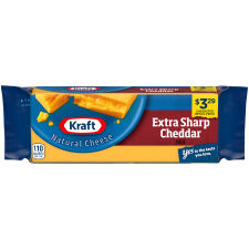 Kraft Extra Sharp Natural Cheddar Cheese Block 8 oz Wrapper