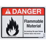 "Aluminum Flammable Material Danger Sign, 10"" x 14"""