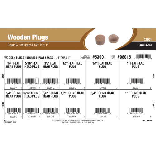Round & Flat Head Wooden Plugs Assortment (1/4