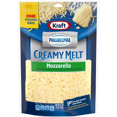 Kraft Mozzarella Natural Cheese with a Touch of Philadelphia 16 oz Pouch