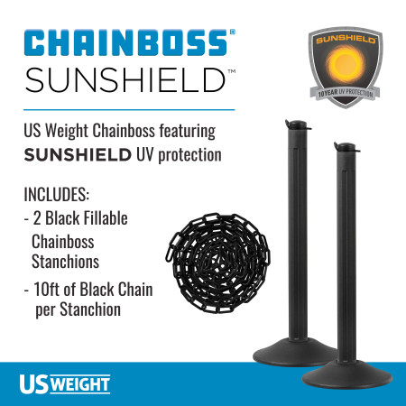 ChainBoss Stanchion - Black Empty with Black Chain 2