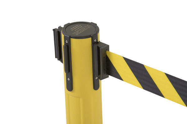 Sentry Stanchion - Yellow with Chevron belt 3