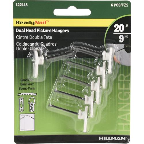 Hillman ReadyNail Dual Head Picture Hanger (20lb) 6 Piece
