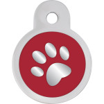 Red Epoxy Paw Small Circle Quick-Tag